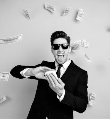 Portrait of his he nice attractive cheerful guy professional executive leader expert development agent broker financier banker throwing away exchange lottery credit isolated over light gray background.